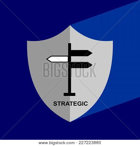 Shield Icon With Long Shadow - Strategic. Block Chain Icon. Vector Graphic Illustration.