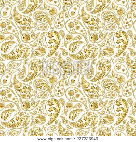 Paisley Gold Seamless Pattern. Hand Drawn Golden Traditional Asian Ethnic Oriental Arabic Indian Flo