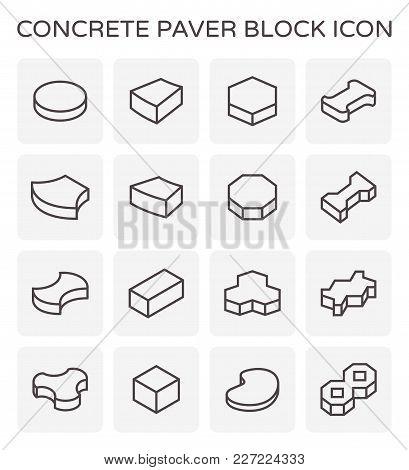 Concrete Paver Block Icon Set On White.
