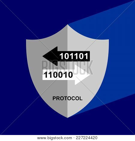 Shield Icon With Long Shadow - Protocol. Block Chain Icon. Vector Graphic Illustration.