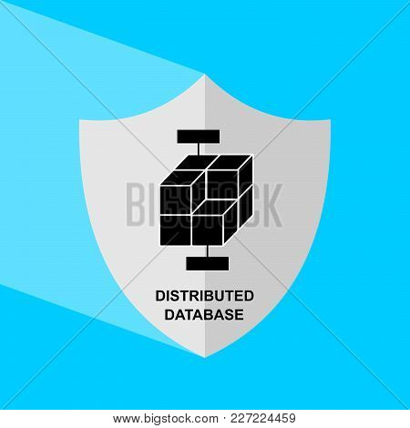 Shield Icon With Long Shadow - Distributed Database. Block Chain Icon. Vector Graphic Illustration.