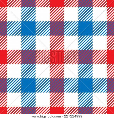 Lumberjack Plaid Pattern In Red, White And Blue. Seamless Vector Pattern. Simple Vintage Textile Des