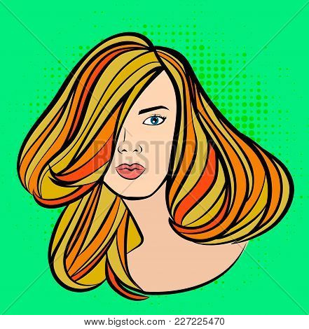 Beautiful Woman Face Portrait In Cartoon Pop Art Style, Vector Hairstyle Promo Banner With Dotted Ba