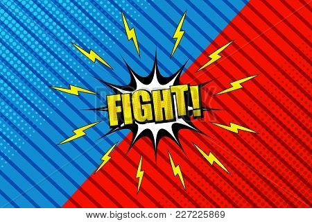 Comic Fight Horizontal Background With Speech Bubble, Two Opposite Blue And Red Sides, Lightning, Ha