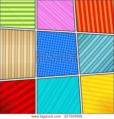 Comic Book Page Bright Concept With Nine Backgrounds Slanted Lines Striped Grid Dotted And Halftone