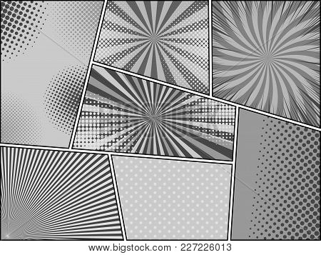 Comic Book Monochrome Background With Radial Dotted Rays And Halftone Humor Effects In Gray Colors.