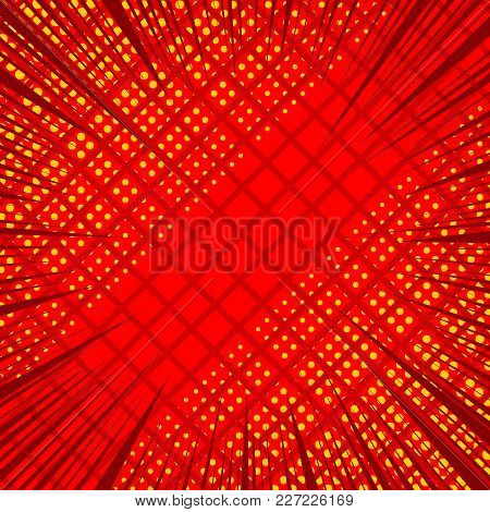 Comic Page Red Background With Halftone Square And Rays Humor Effects. Vector Illustration