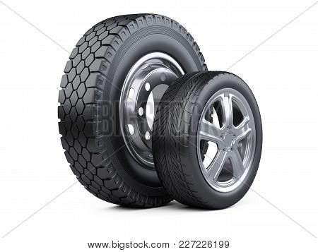 New Car Wheels With Disk For Cars And Trucks. 3d Illustration Over White Background.