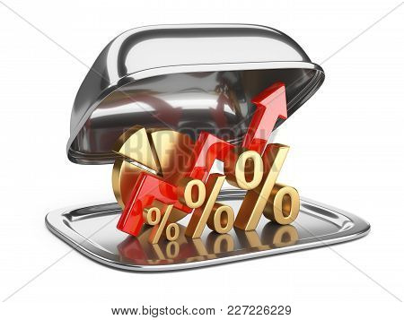 Graph, Diagram And Golden Percent Signs On A Square Restaurant Cloche With Open Lid. Business Concep