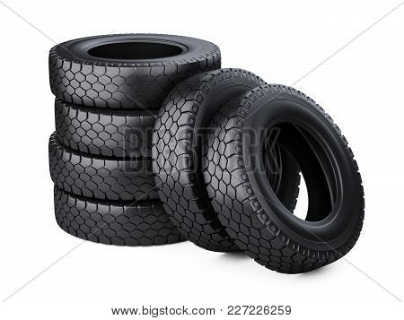 Set Of Six Big Vehicle Truck Tires Stacked. 3d Illustration Over White Background.