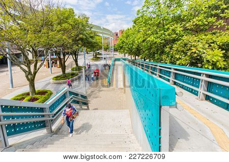 Medellin February 2018 This Is The Pedestrian Crossing At The Exit Of The Alpujarra Medellin Subway