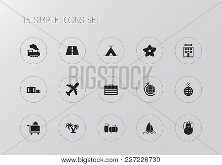 Set Of 15 Editable Holiday Icons. Includes Symbols Such As Aviation, Cloche, World Travel And More.