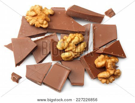 Cracked Chocolate Candies Sweets With Nuts Isolated On White Background Top View