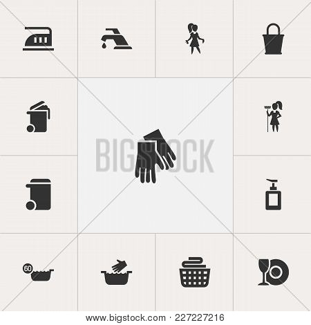 Set Of 13 Editable Cleanup Icons. Includes Symbols Such As Maximum Power, Liquid Soap, Hot Water And