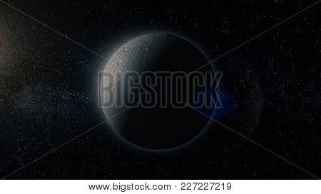Planet In Space. Solar System And Space Objects. Abstract Scientific Background - Glowing Planet In