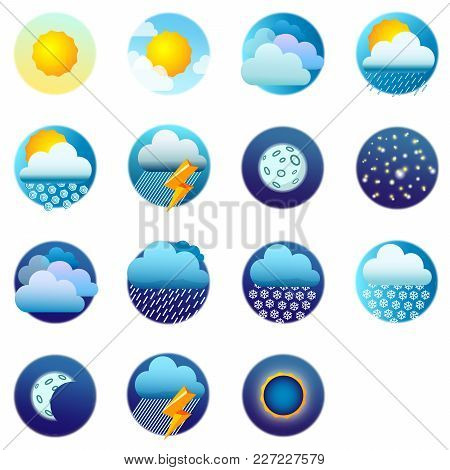 Weather Forecast. Weather Icons. Vector Illustration Eps10 File