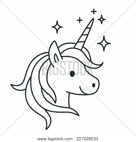 Simple Cute Magic Unicorn Vector Line Cartoon Illustration Isolated On White Background. Fantasy Myt