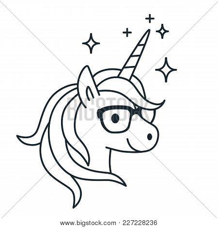 Cute Unicorn Wearing Eyeglasses Single Color Outline Illustration. Simple Line Doodle Icon, Coloring