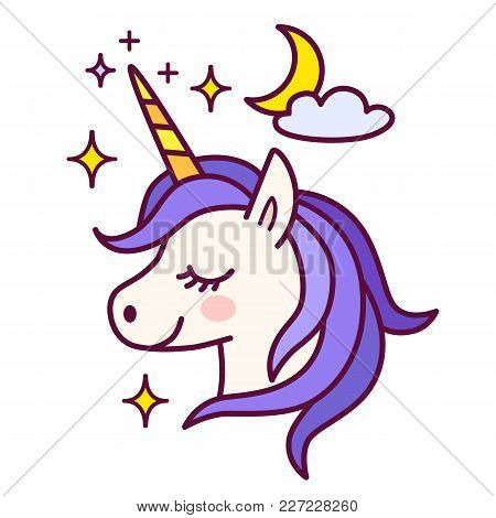 Cute Unicorn With Sparkles And Moon Vector Illustration. Simple Color Flat Line Doodle Icon Contempo
