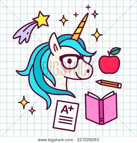 Cute Cartoon Magic Unicorn With Eyeglasses, With School Themed Icons Around, On Grid Paper Backgroun