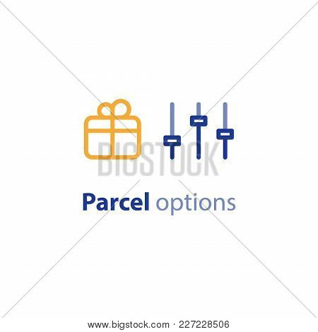 Delivery Services, Shipping Parcel Parameters, Shipment Options, Vector Line Icon Set