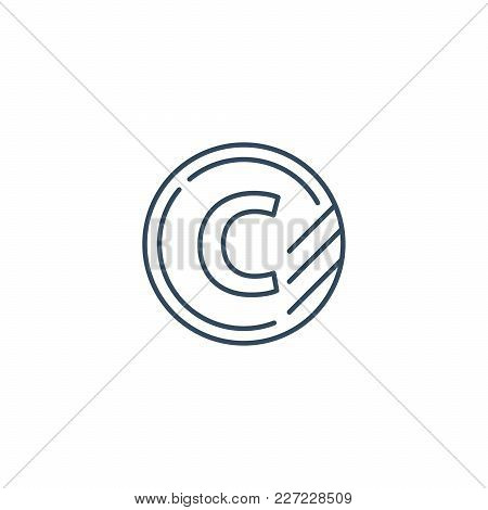 Token With Letter C, Upgrade Concept, Round Classification Mono Line Vector Icon