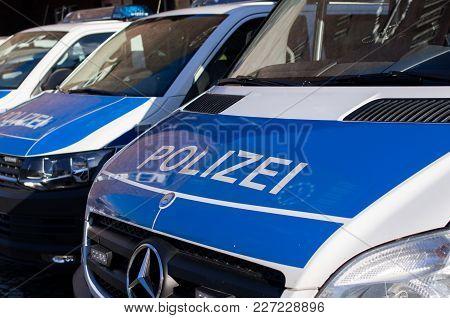 Duesseldorf, Germany - February 13 2018:  German Polizei Vans Parked Near Bundespolizei Office In Du