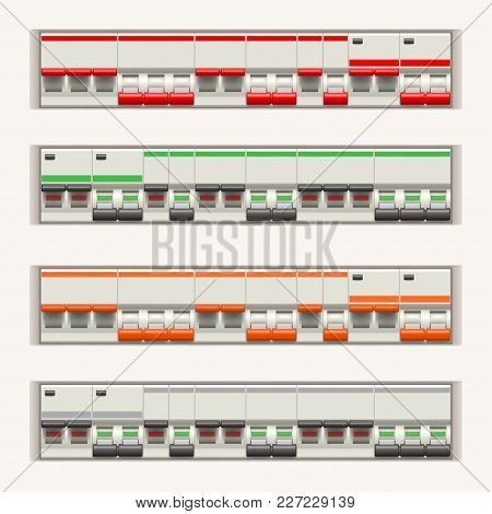 Electric Switches In Lines Each In Two Conditions On White Background