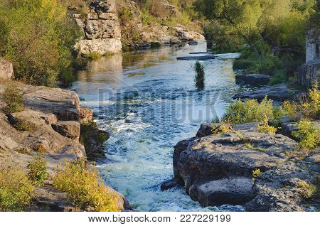 Sunny Afternoon, The River Gorny Tikich Flows Among The Stones And The Canyon In The Village Of Buki