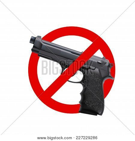 Illustration Of Mo Guns Sign With Realistic Handgun Isolated On White Background