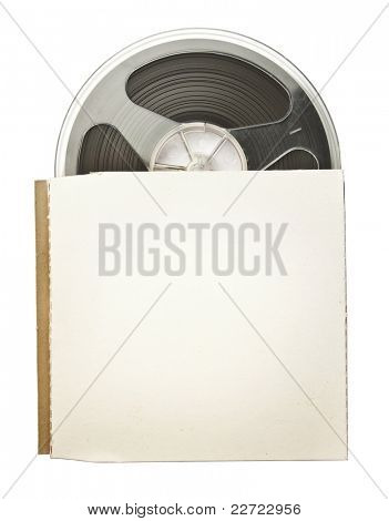 Vintage magnetic audio reel in a blank paper package.