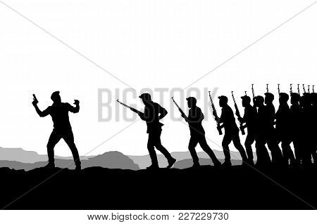 Illustration Of Officer Attacking Order Silhouette On White Background