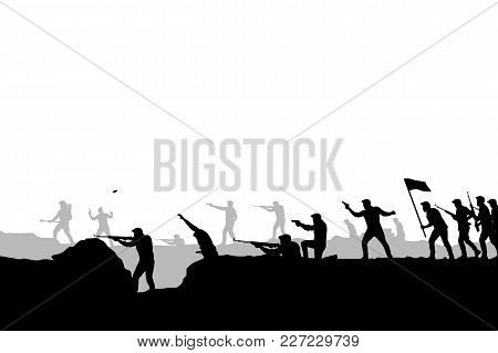 Illustration Of Attacking Army Silhouette On White Background