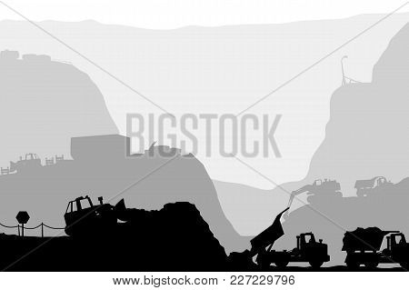 Illustration Of Huge Construction In Canyon Silhouette On White Background