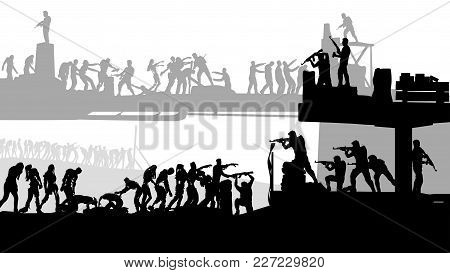 Illustration Of Zombie Attack And Armed Humans Defencing Silhouette On White Background