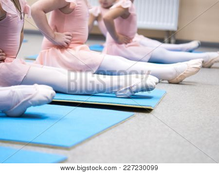 Little ballerina pulled socks training in class