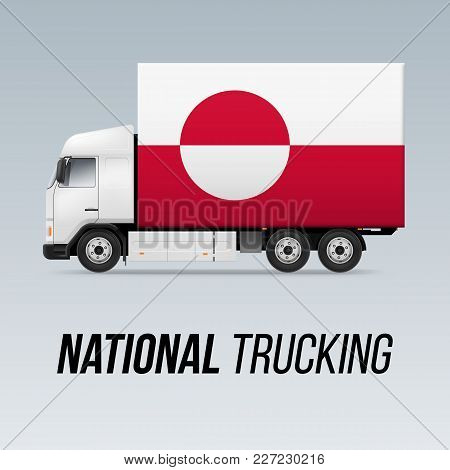 Symbol Of National Delivery Truck With Flag Of Greenland. National Trucking Icon And Flag Design