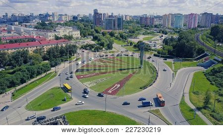 Top View Of The Road With A Circular Motion. Clip. Top View Of The Circular Motion In The City.