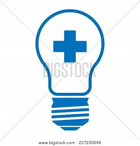 Medical Lamp With A Blue Cross On A White Background