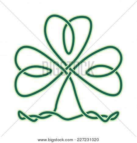 Vector Imitation Of Celtic Knotwork Or Icovellavna: Clover Or Shamrock Endless Knot As Design Elemen