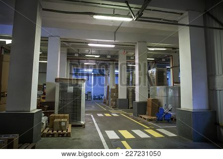 Industrial Storage Hall Or Warehouse In Factory, Plant Or Logistic Company