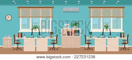 Office Room Interior Including Four Workspaces With Cityscape Outside Window. Workplace Organization