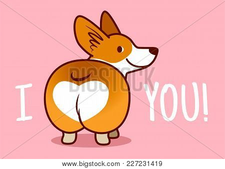 Cute Smiling Welsh Corgi Dog Vector Cartoon Illustration Isolated On Pink Background. Funny