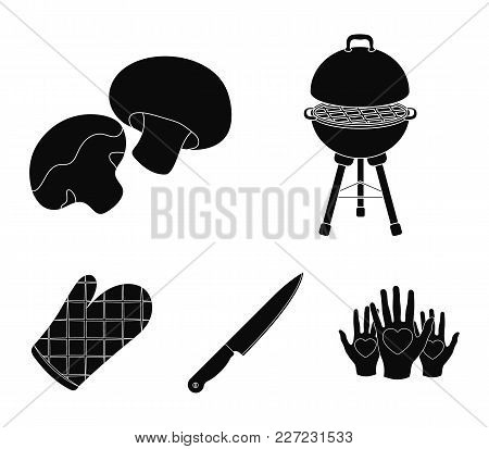 Barbeque Grill, Champignons, Knife, Barbecue Mitten.bbq Set Collection Icons In Black Style Vector S