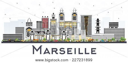 Marseille France City Skyline with Gray Buildings Isolated on White. Business Travel and Tourism Concept with Historic Architecture. Marseille Cityscape with Landmarks.
