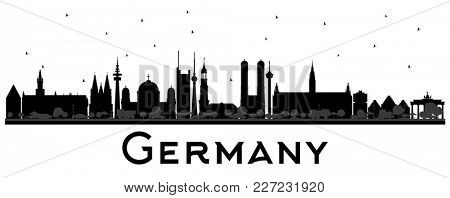 Germany City Skyline Silhouette with Black Buildings. Business Travel and Tourism Concept with Historic Architecture. Germany Cityscape with Landmarks.