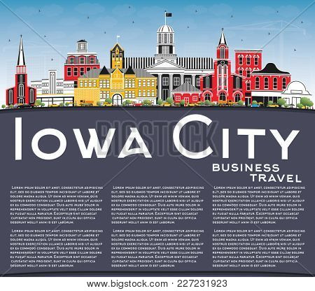Iowa City Skyline with Color Buildings, Blue Sky and Copy Space. Business Travel and Tourism Illustration with Historic Architecture.