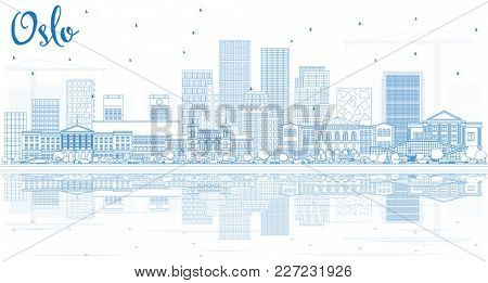 Outline Oslo Norway City Skyline with Blue Buildings and Reflections. Business Travel and Tourism Illustration with Modern Architecture. Oslo Cityscape with Landmarks.