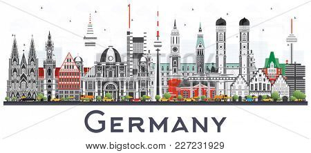 Germany City Skyline with Gray Buildings Isolated on White Background. Business Travel and Tourism Concept with Historic Architecture. Germany Cityscape with Landmarks.