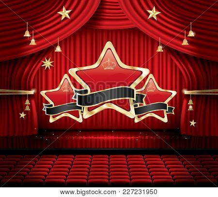 Red Stage Curtain with Three Stars, Seats and Copy Space. Theater, Opera or Cinema Scene. Light on a Floor.